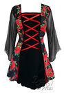 PLUS SIZE Gothic MANDARIN Stretch Corset Style Top RED ROSE Size 18/20 to 26/28
