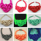 Multicolor Pure Handmade Knit Necklace Woven Fluorescent Cotton Rope Necklace