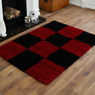 NEW RED BLACK 5CM HIGH PILE BOX PATTERN PATTERN LARGE MEDIUM SMALL SHAGGY RUGS