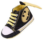 Infant Baby Boy Black Batman Soft Sole Crib Shoes Size Newborn to 18 Months