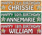 """PERSONALISED BIRTHDAY BANNER - ANY NAME  3ft - 36 """"x 11"""" 1st 18th 21st 30th 40th"""