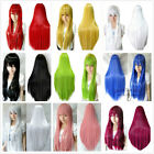 80cm Womens/Ladies Long Straight Cosplay/Costume/Anime/Party/Bangs Full Wig+Cap