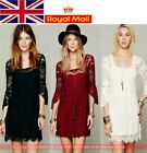 Stylish 3/4 Sleeve Women 2pcs Set Square Neck Lace Mini Dress UK Local Shipping