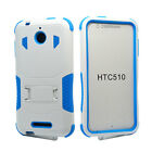 For HTC Desire 510 512 Rugged Tough Combo Hybrid Silicone Cover Case w Kickstand