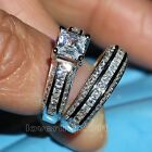 Brand Engagement Topaz Diamonique 10KT White Gold GF Wedding Ring Set Size 5-11