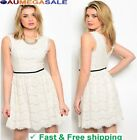 New Women Sexy Ivory Cocktail Party Summer Evening Mini Skirt Lace Casual Dress