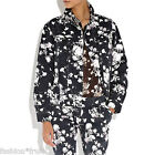 RIHANNA River Island Floral Print Denim Oversized Jean Jacket Black UK 10 12 New