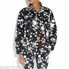 RIHANNA River Island Floral Print Denim Oversized Jean Jacket Black UK10 EU36