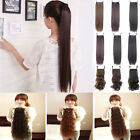 "Real Synthetic 22"" Long Curly Hairpiece Ponytail Wrap Clip In Hair Extension O2"