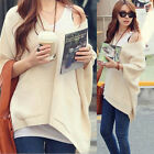 Stylish Womens Loose Batwing Sleeves V-neck Knitting Knitwear Sweater Solid 4868