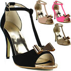 New Ladies Womens Strappy High Heel Stiletto Peep toe T-Bar Suede Sandals Shoes