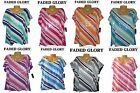 NWT 1X/2X/3X/4X Plus Faded Glory Sequined Striped Stretch Top Blue,Pink,Purple +