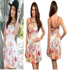 New Women Sexy Casual Party Ivory Pink Flower Cocktail  Evening Short Dress