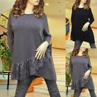 GRAY/BLACK LACE ANGLE HEM LONG SLEEVE TUNIC TOP #3045 SIZE XL/XXL
