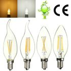 E14 2W 4W Edison Filament COB LED Energy Saving Light Lamp Candle Flame Bulb
