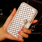Bling Diamond Rhinestone Bow Wallet PU Leather Stand Case Cover For LG Phones
