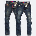 Fashion Style Men's Jean Pants Slim Fit Skinny Korean Casual Straight Trousers