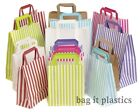 PAPER CARRIER BAGS SOS CANDY STRIPE / BROWN / WHITE PARTY GIFT WEDDING HEN NIGHT