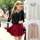 NEW Fashion Womens Long Sleeve Chiffon Paillette Collar Top T Shirt Blouse Black