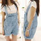 Women Denim Rompers Strap Pockets Frayed  Ripped Holes Overalls Jumpsuits