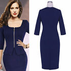 2015 Women Cocktail Dress Formal Business Party Pencil Sheath Prom Skirt Navy J