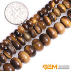 "Natural Stone Tiger's Eye Faceted Rondelle Beads For Jewelry Making 15"" Yao-Bye"
