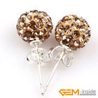 8mm pave sparkle CZ swarovski crystal beads stud earrings fashion Jewelry