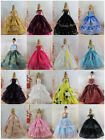 15 items=5* Fashion Handmade Party Dress Clothes Gown +10 shoes For Barbie Doll