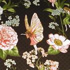 Lovely Fairies Etched in Metallic Gold, Flowers,  Cotton Fabric by Hoffman