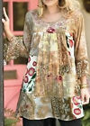 ULLA POPKEN TAN Mixed Print Patched Woven Tunic Top Sizes 20/22 & 24/26