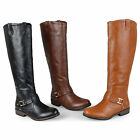 Journee Collection Womens Wide Calf Round Toe Buckle Detail Boots