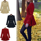 Womens Double-breasted Cashmere Coat Warm Slim Ruffle Parka Jacket Tops S-XL