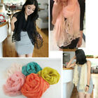 Women Chiffon Soft Lace Scarves Shawl Neck Wrap Stole Flower Scarf Summer