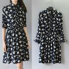 Europe Women's Lady Stars Print Turn-down Collar Long Sleeve Elastic Waist Dress