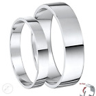 Palladium His & Hers 3&5mm/ 4&6mm Solid Flat Shaped Wedding Rings Hallmarked