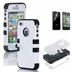 For iPhone 4S 4 Film HARD SOFT RUBBER HIGH IMPACT ARMOR CASE BLACK HYBRID COVER