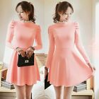 Sweet Frilled Stand Collar Puff Sleeve Women's Pleated  A-line Mini Dress Tunic