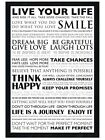 New Black Wooden Framed Live Your Life Dream Big Poster