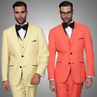 Coral Yellow Modern Fit 2 Button Solid Tuxedo Suit w/ Vest by Statement VENICE-2