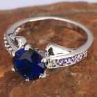 WONDERFUL Blue Sapphire 7*7mm GEMSTONES SILVER RING SizeSelect T7526