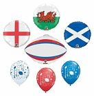 RUGBY Foil/Latex BALLOONS (6 Nations | World Cup Party/Decoration) (Qualatex)