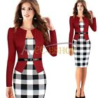 Womens Elegant Plaid Party Wear To Work Business Cocktail Bodycon Pencil Dresses