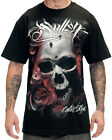 Sullen Clothing Distortion Mens T Shirt Black Skull Rose Tattoo Goth Tee
