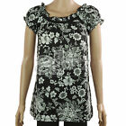 Ladies John Rocha Black White Smart Casual Floral Cotton Tunic Top Size UK 10
