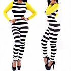 Womens Sexy Zipper Striped Bodycon Long Rompers Jumpsuits Dress Overalls Outfit