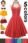 50s Style PLUS SIZE Miss Mabel POLKA DOT Pinup HALTER TOP Sun Dress - 3 COLORS!