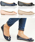 Womens ladies flat quilted bow ballerina pumps school office patent shoes size