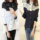 New Fashion Autumn Temperament Models Cape-style Lace Stitching Chiffon Shirt