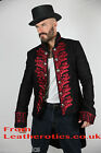 Red Mens tailcoat Victorian jacket top Steampunk VTG vintage Black cotton STP7