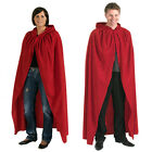 ADULT RED LONG HOODED COSTUME CLOAK CAPE ALL SIZES HALLOWEEN MEN LADIES